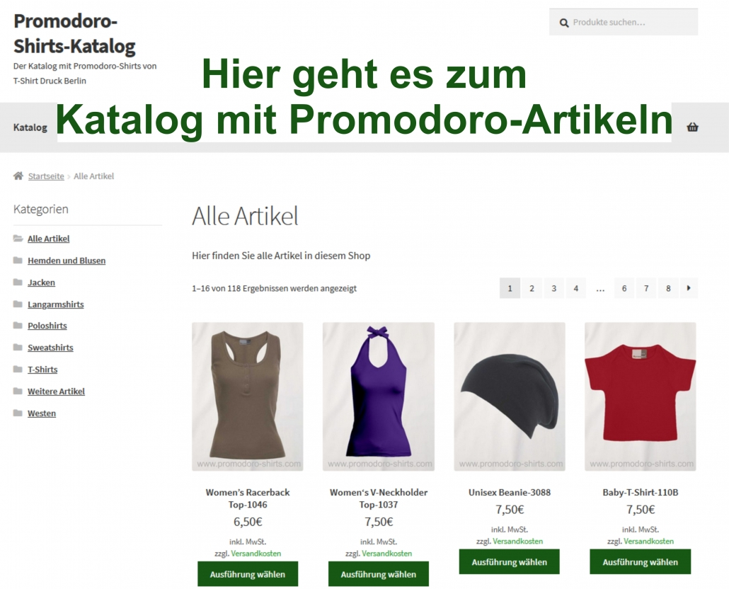 Screenshot vom Promodoro-Shirts Katalog